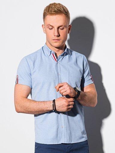 Koszula męska z krótkim rękawem K489 pudrowy róż | MODONE  tNfKv