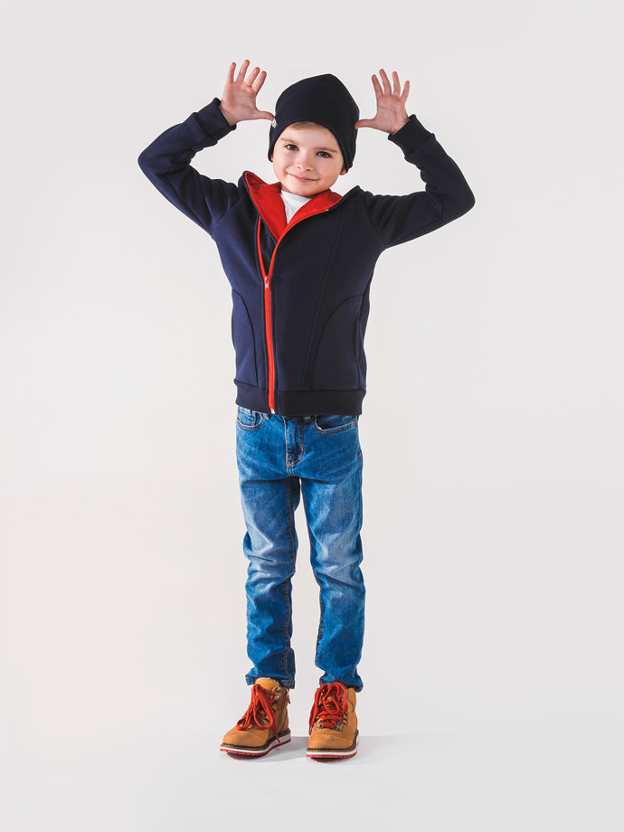 Boy's hoodie with zipper KB001 - navy/red