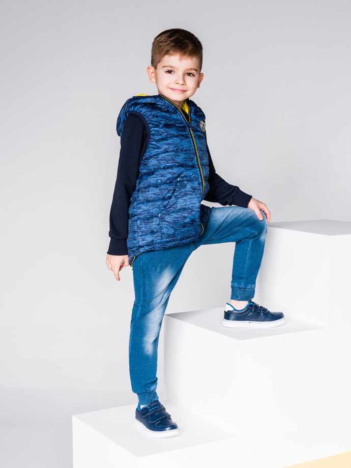 Boy's vest with hood KV001 - navy