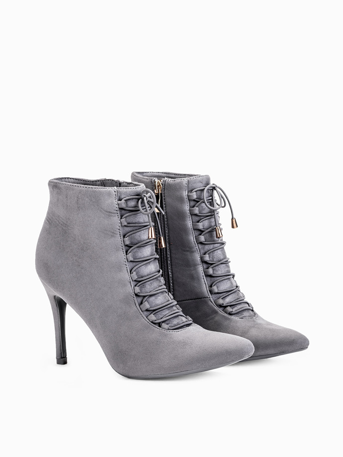 Grey high-heeled ankle boots lr085