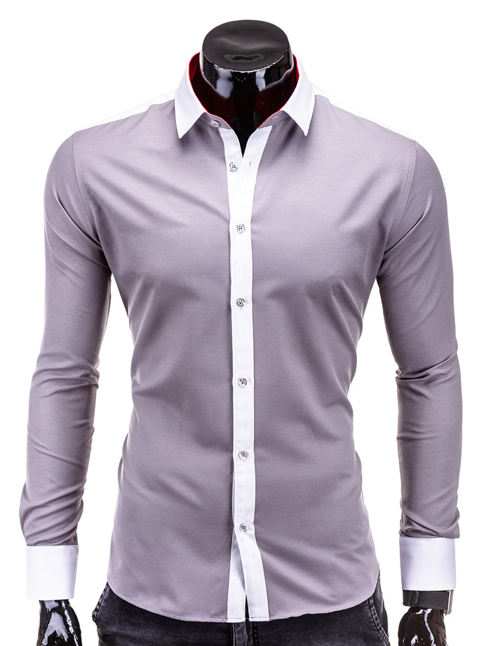 Long-sleeved men's shirt K167 - grey