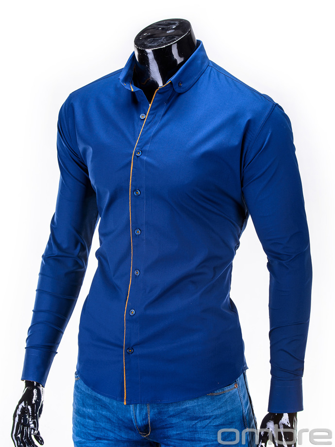 Long-sleeved men's shirt K278 - navy