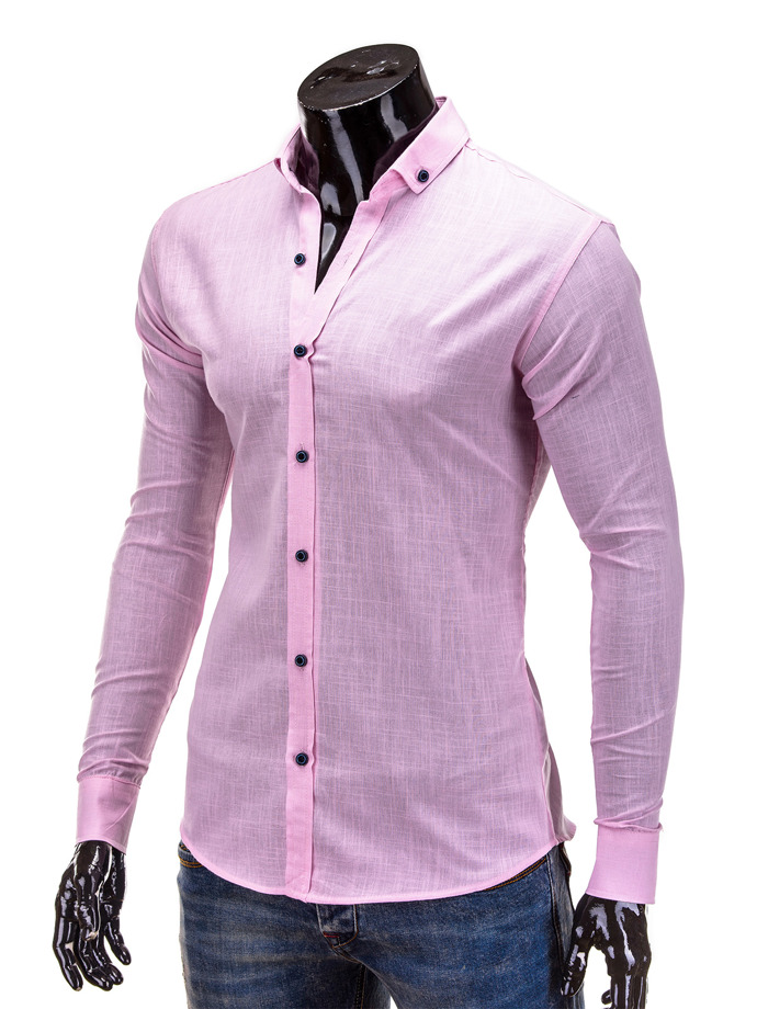 Long-sleeved men's shirt K280 - pink