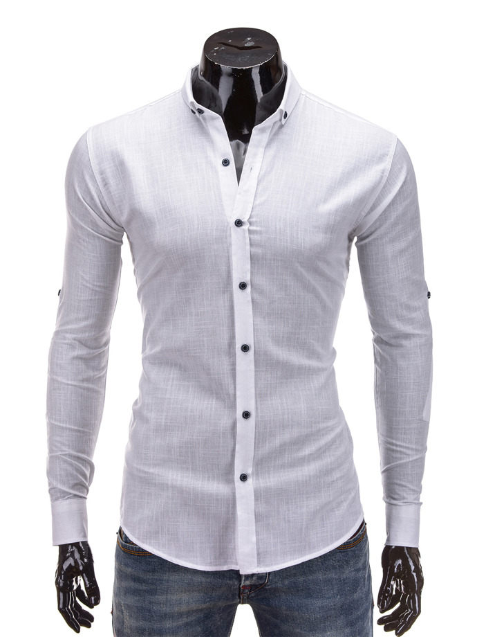 Long-sleeved men's shirt K280 - white