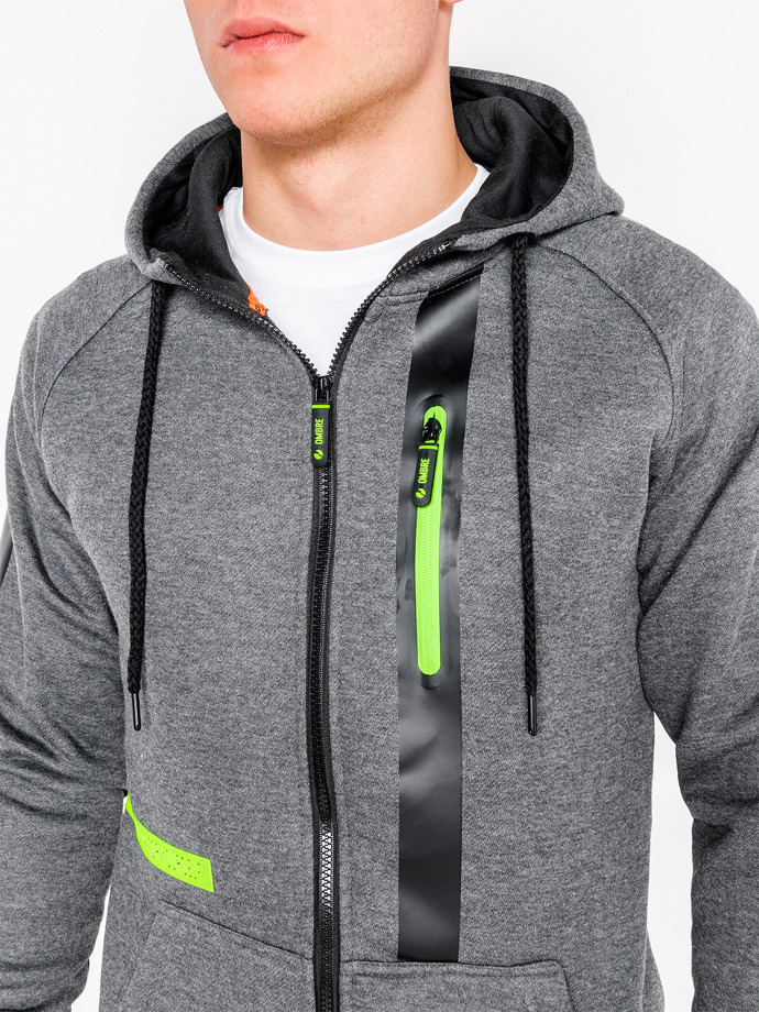 Men's zip-up hoodie B746 - dark grey