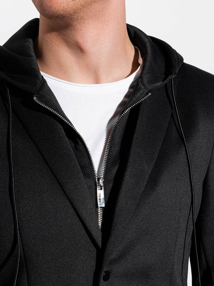 Men's casual hooded blazer jacket M156 - black