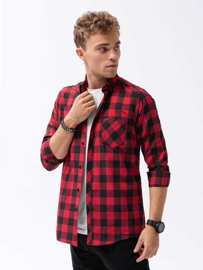 Men's check shirt with long sleeves K282 - red/black