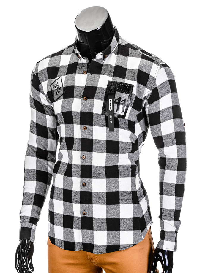 Men's check shirt with long sleeves K369 - black