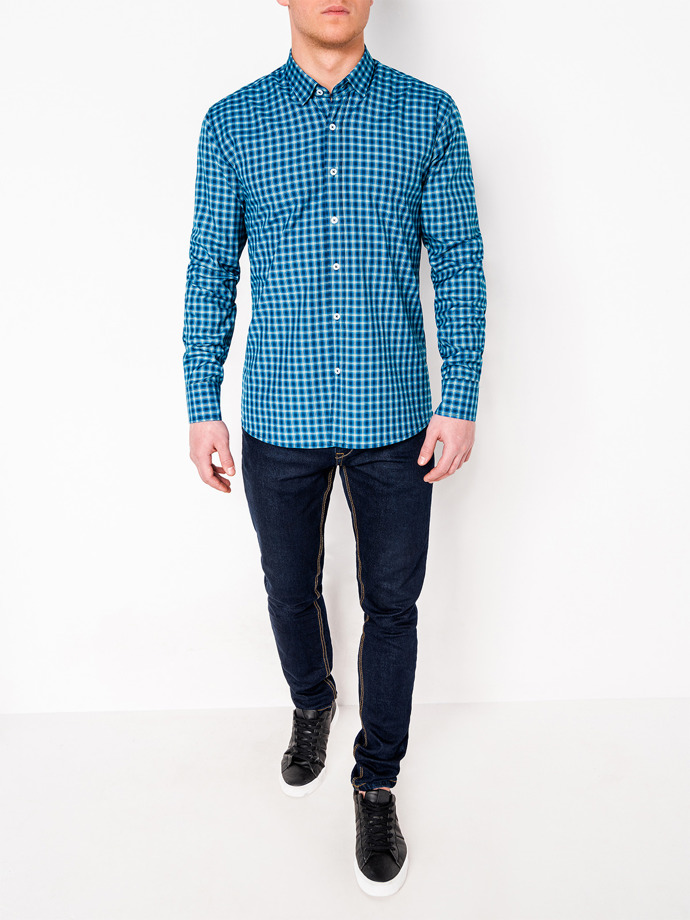 Men's check shirt with long sleeves K438 - navy/green