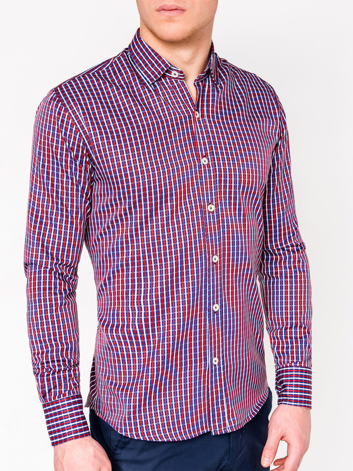 Men's check shirt with long sleeves K441 - red/navy