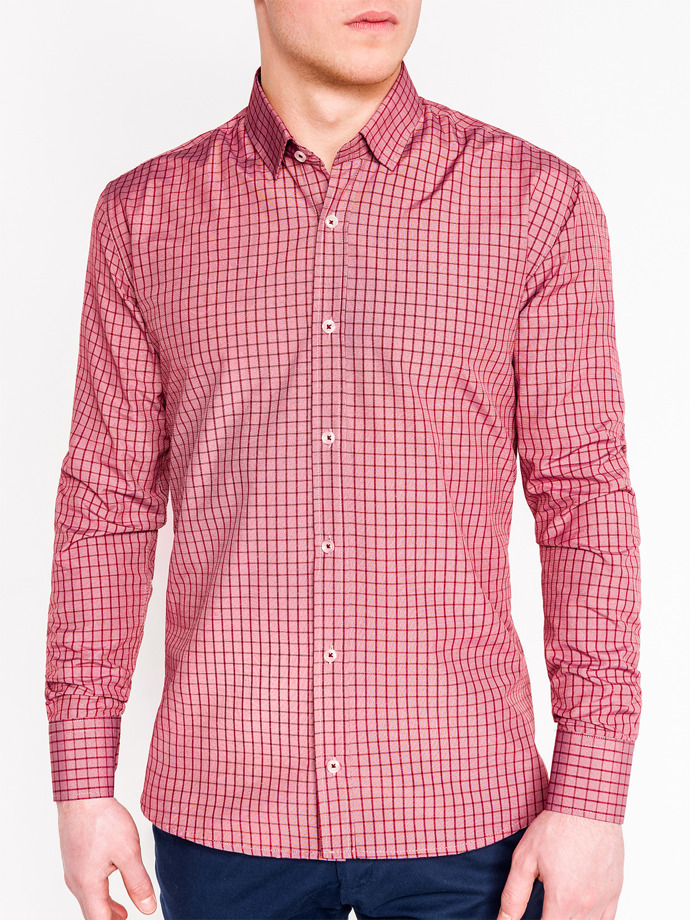 Men's check shirt with long sleeves K446 - red