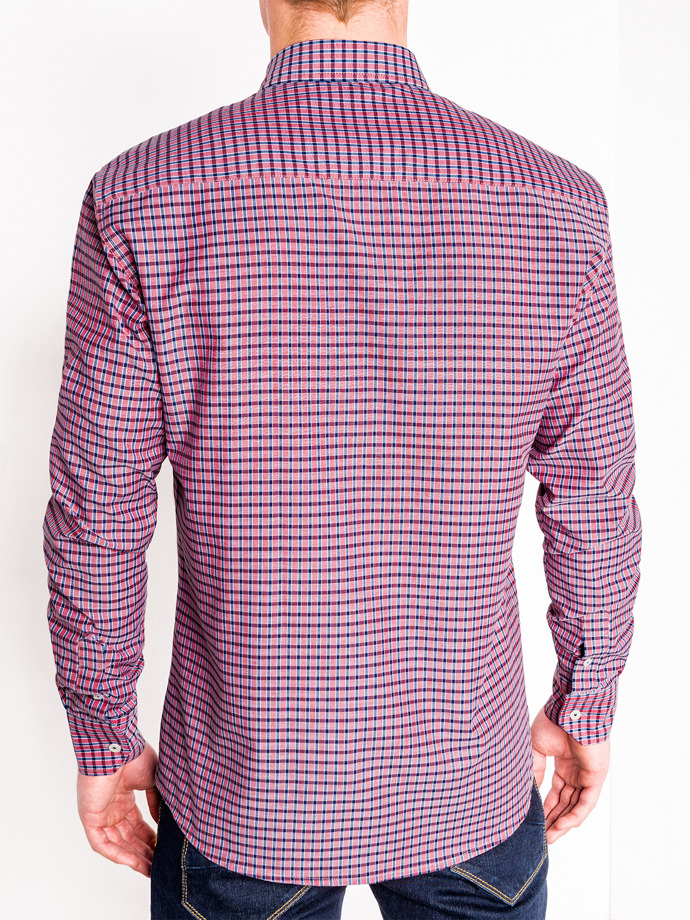 Men's check shirt with long sleeves K448 - red