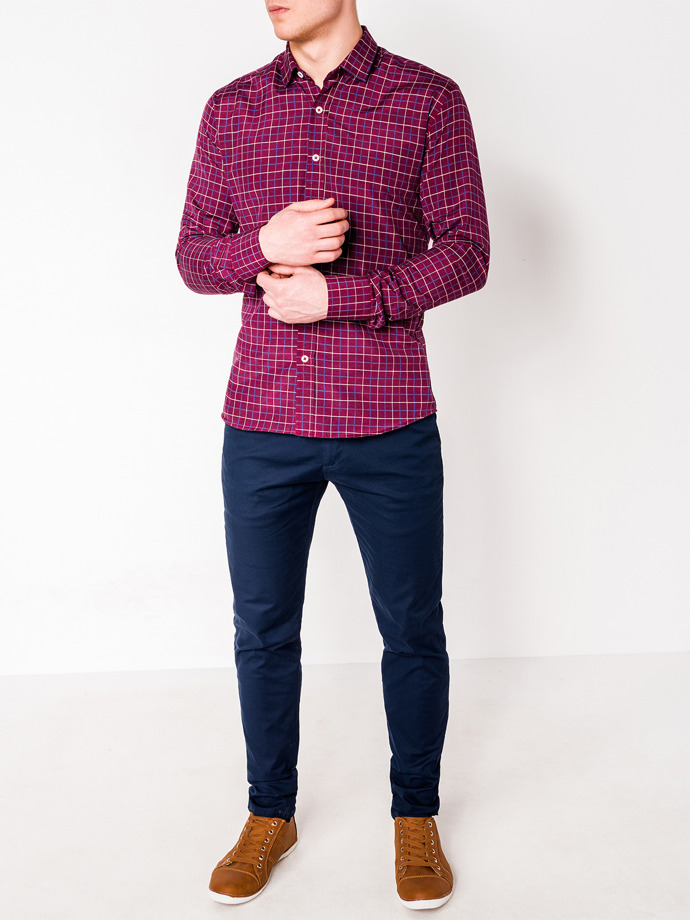 Men's check shirt with long sleeves K449 - dark red