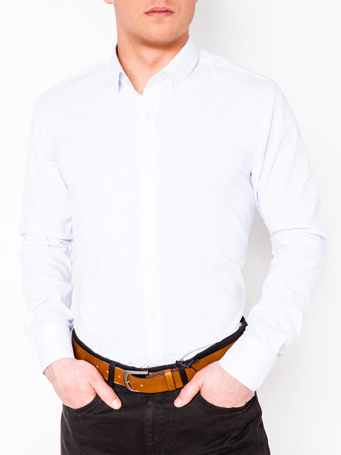 Men's elegant shirt with long sleeves K219 - white