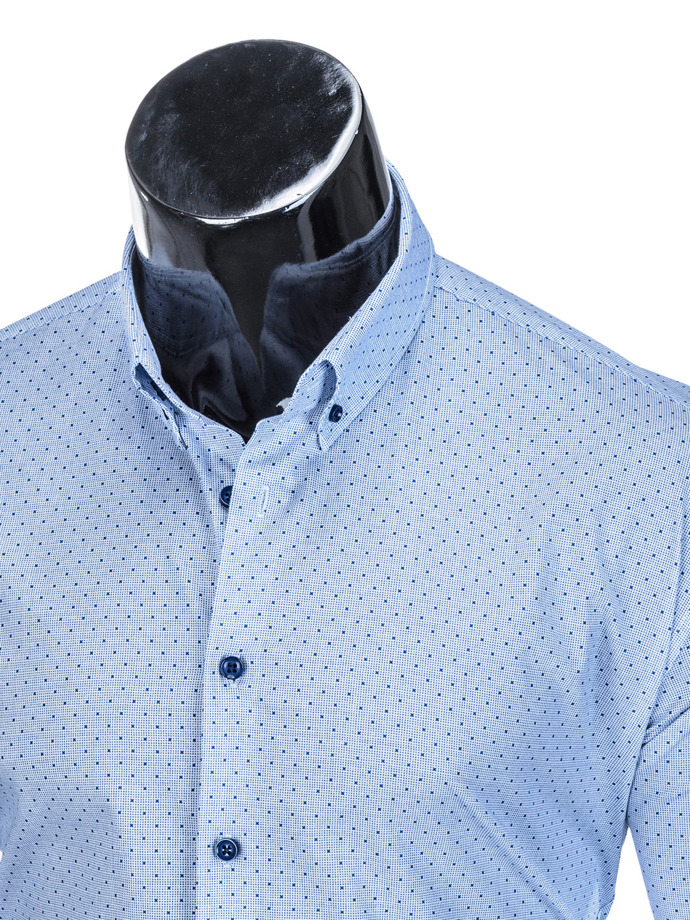 Men's elegant shirt with long sleeves K392 - blue