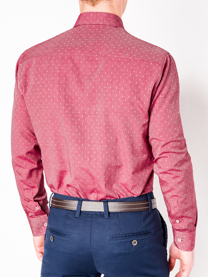 Men's elegant shirt with long sleeves K430 - red