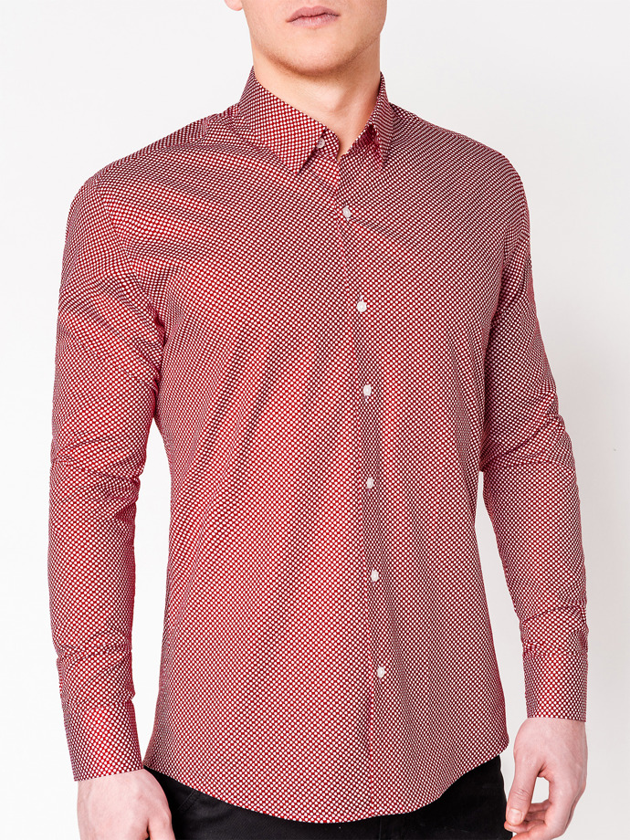 Men's elegant shirt with long sleeves K457 - red