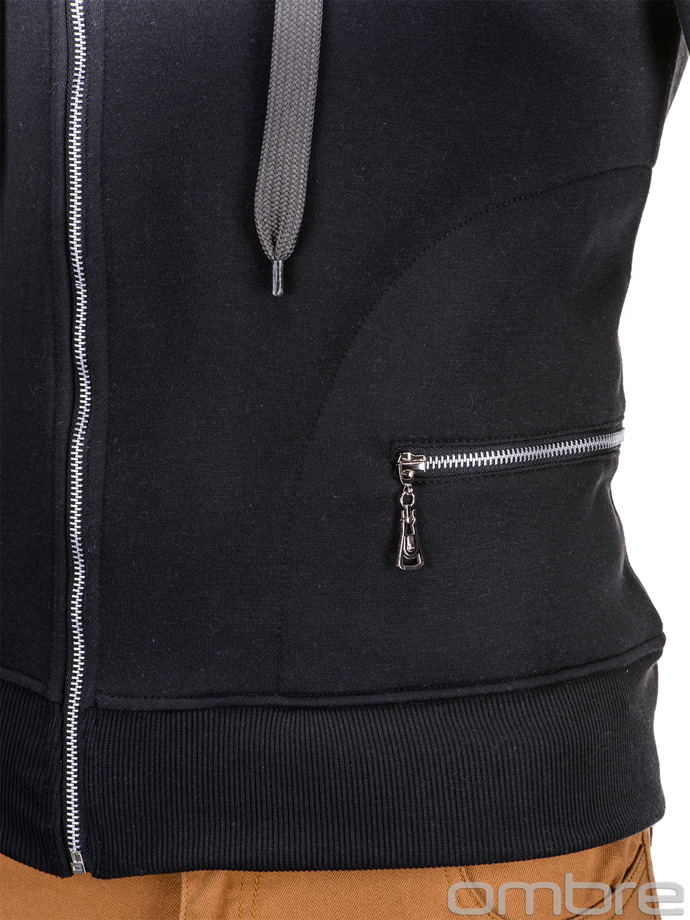 Men's hoodie with zipper B595 - black