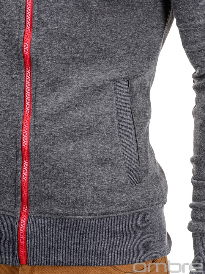 Men's hoodie with zipper B596 - dark grey