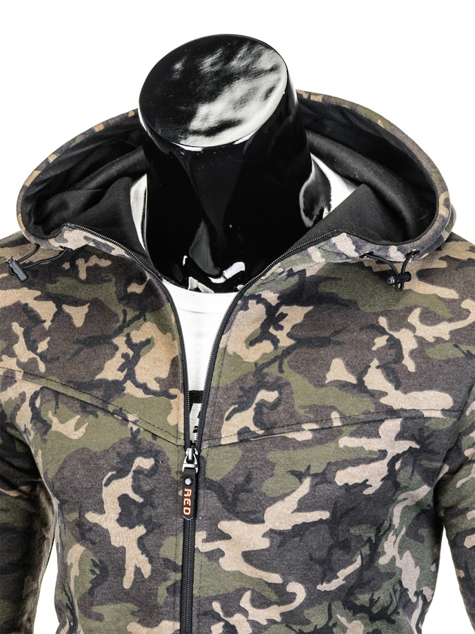 Men's hoodie with zipper B715 - khaki/camo