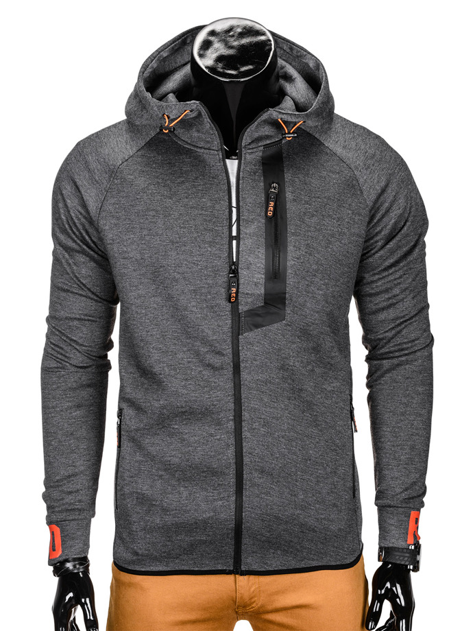 Men's hoodie with zipper B752 - dark grey