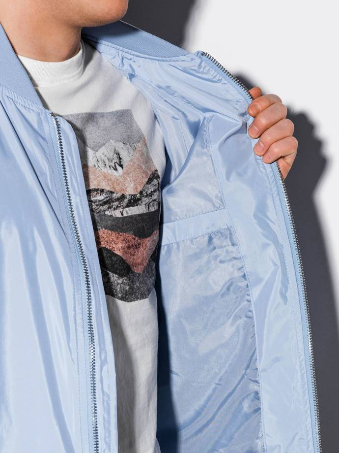 Men's mid-season bomber jacket C439 - light blue