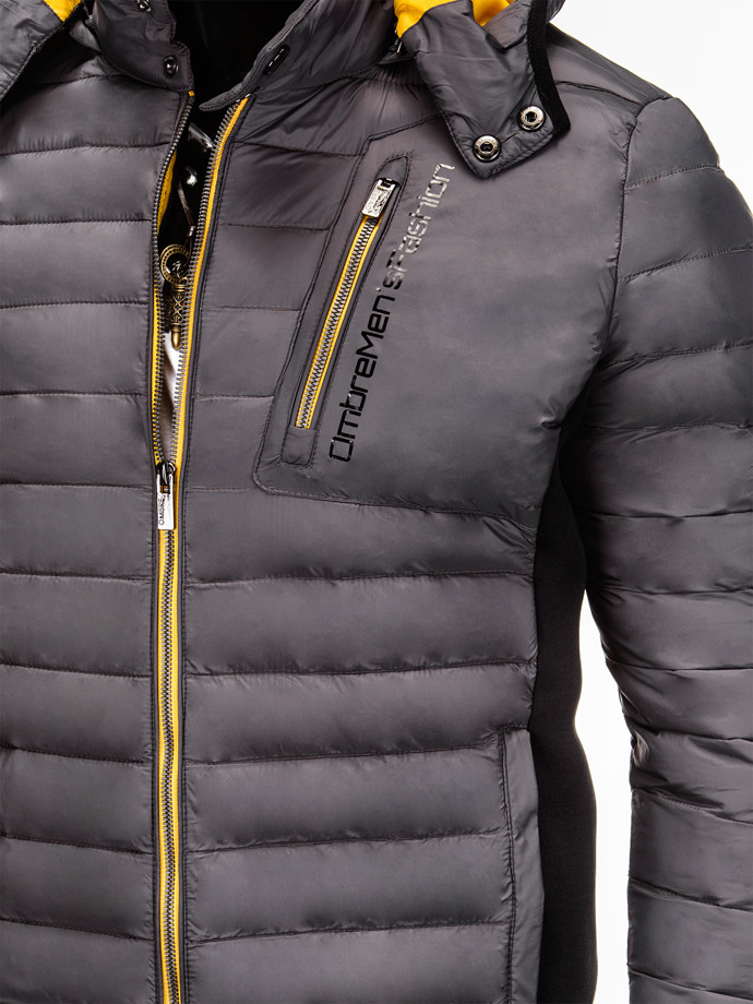 Men's mid-season quilted jacket C291 - grey