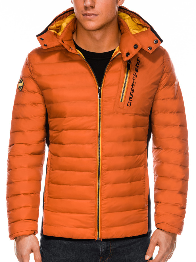 Men's mid-season quilted jacket C291 - orange