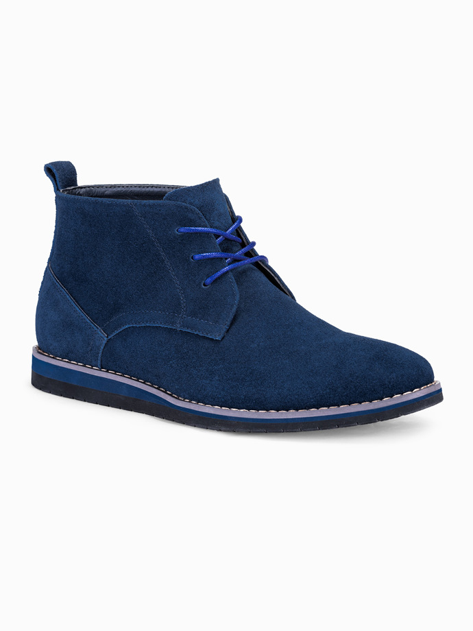 Men's natural leather shoes T331 - navy
