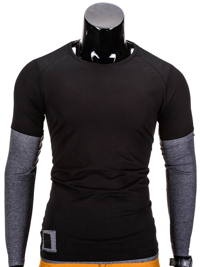 Men's plain longsleeve L65 - black/dark grey