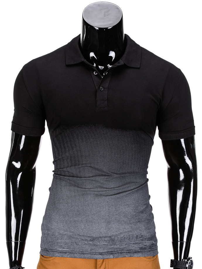 Men's plain polo shirt S834 - black/dark grey