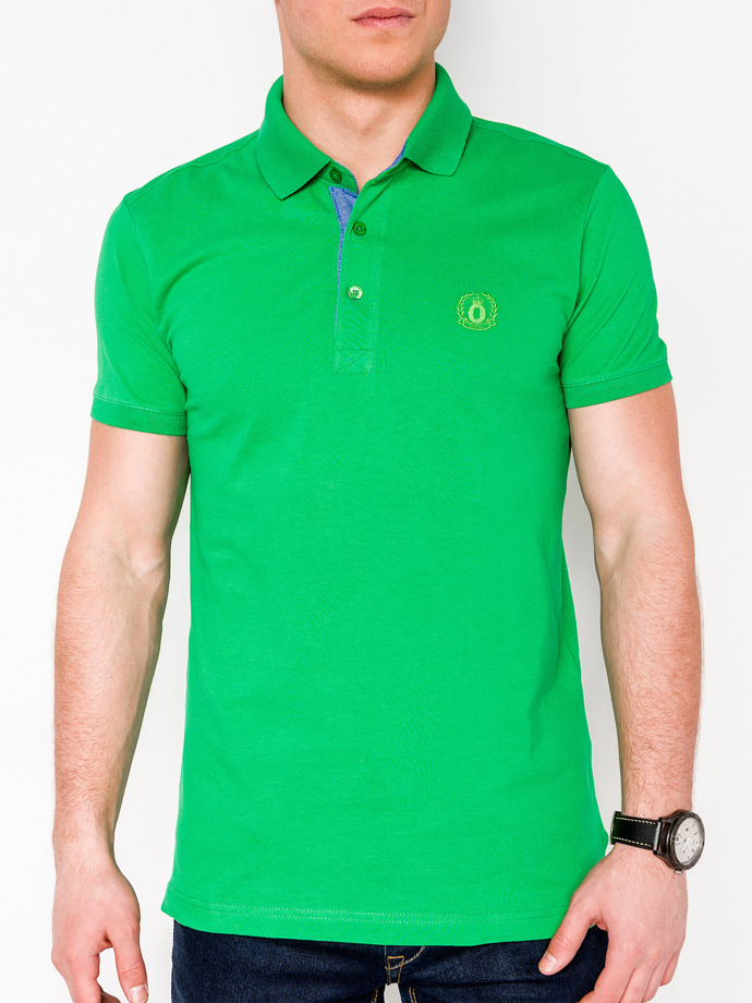 Men's plain polo shirt S837 - green