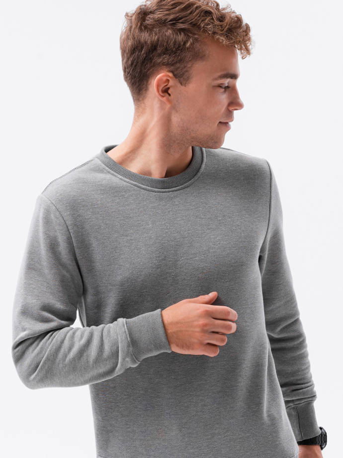 Men's plain sweatshirt B978 - grey melange