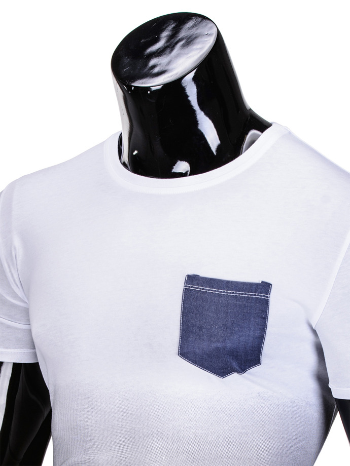 Men's plain t-shirt S427 - white/black