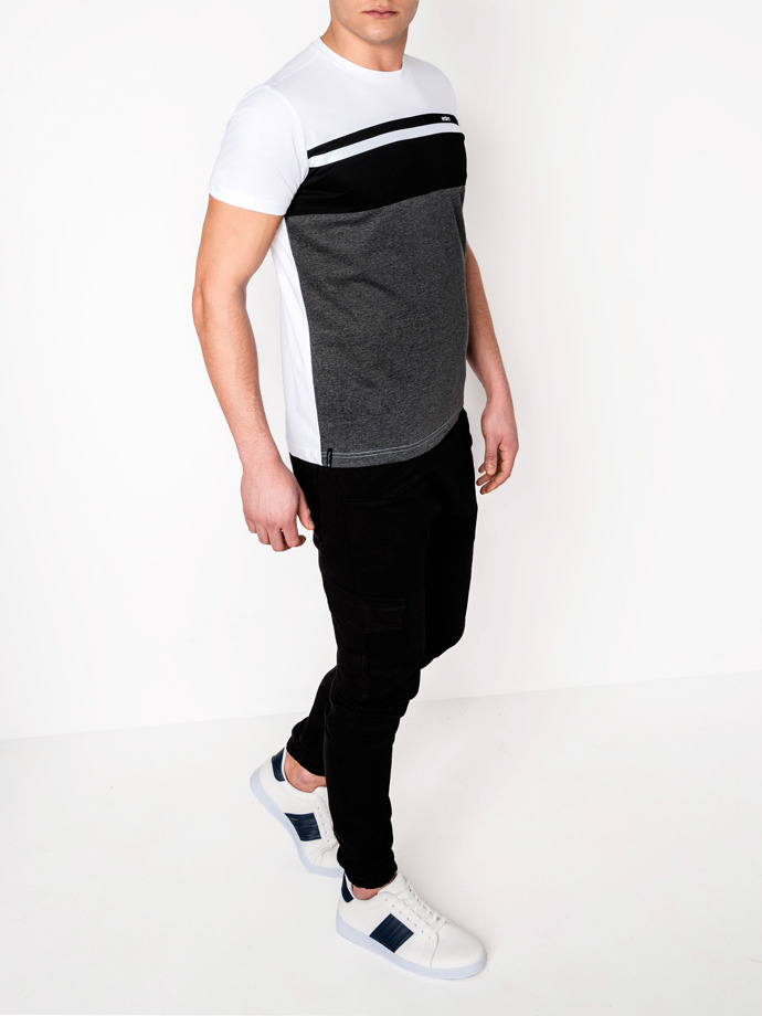 Men's plain t-shirt S844 - black/dark grey
