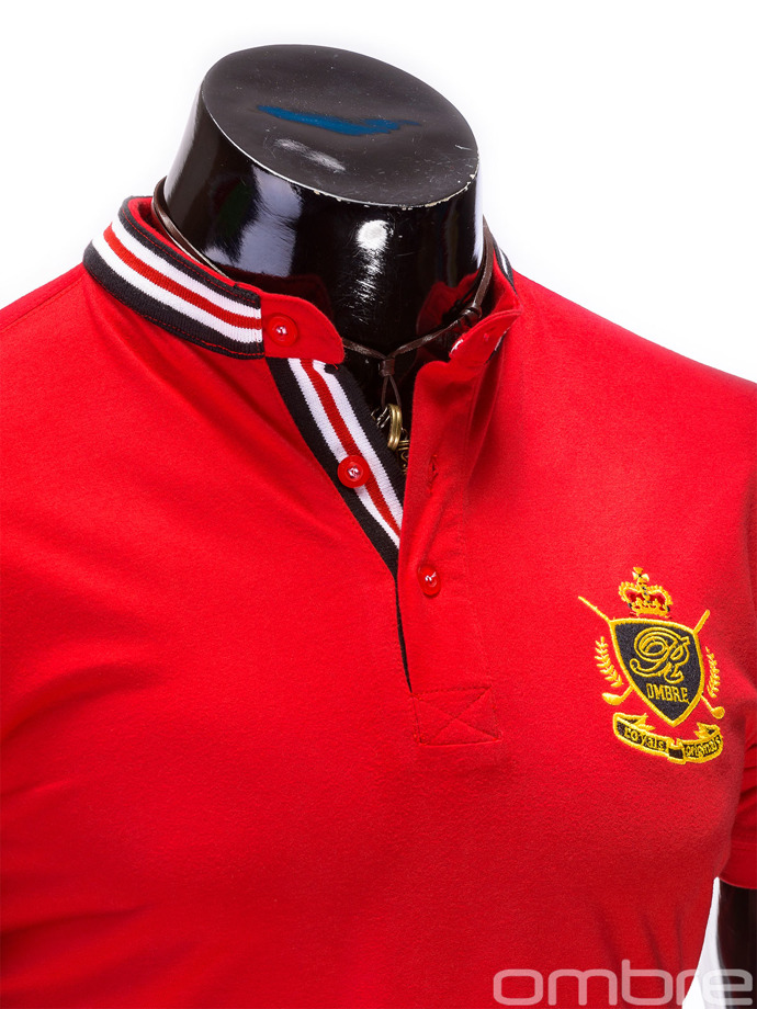 Men's polo shirt with print S509 - red