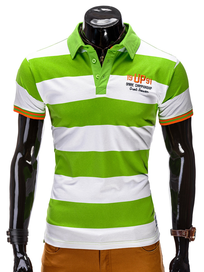 Men's printed polo shirt S511 - green