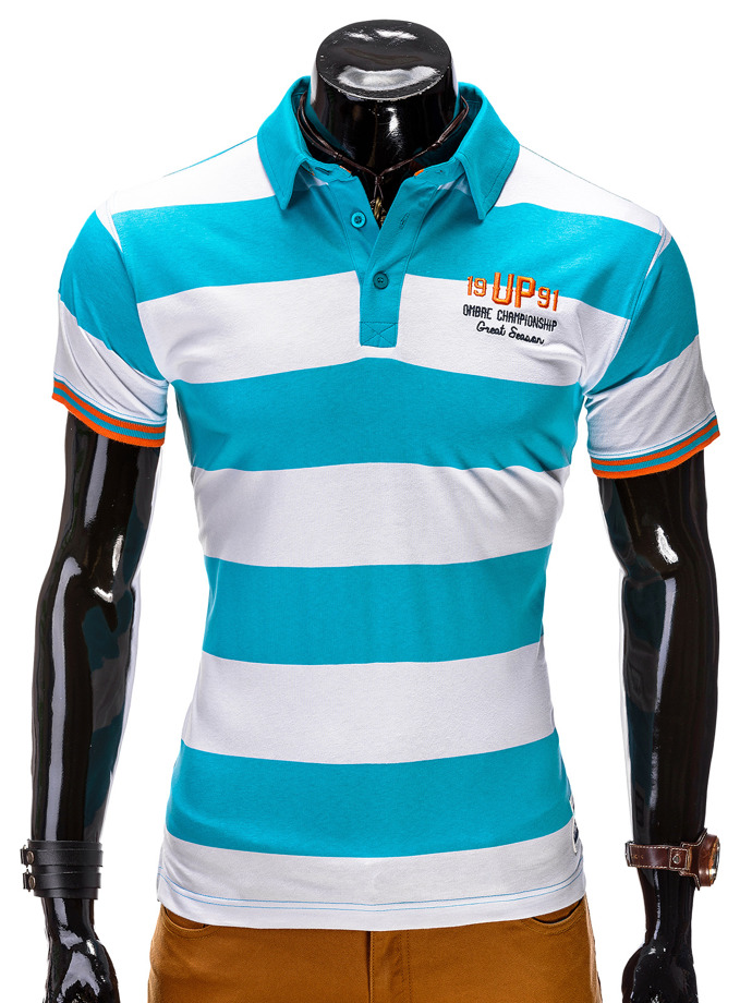 Men's printed polo shirt S511 - turquoise