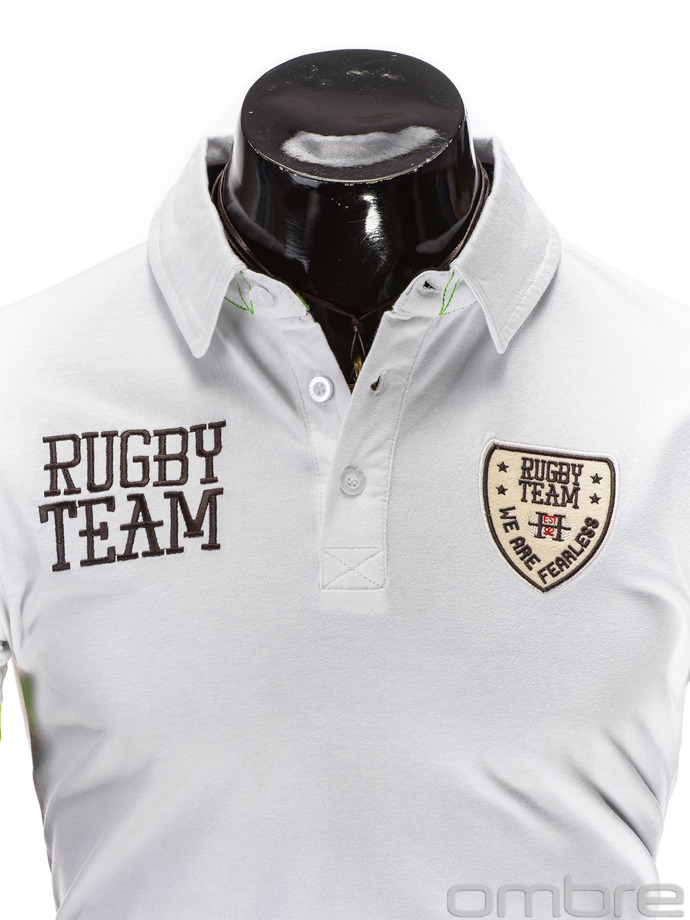Men's printed polo shirt S514 - white