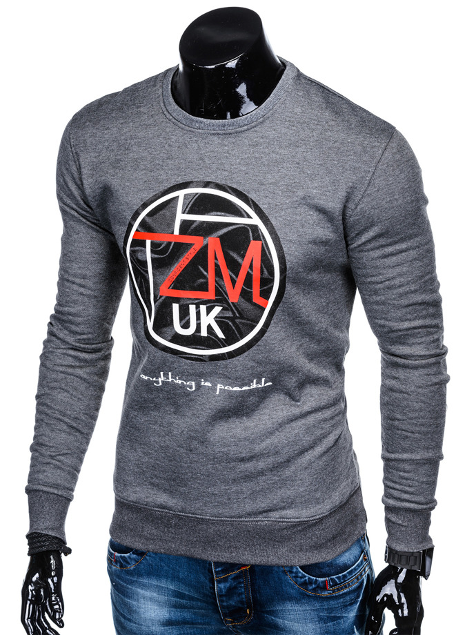 Men's printed sweatshirt B888 - dark grey