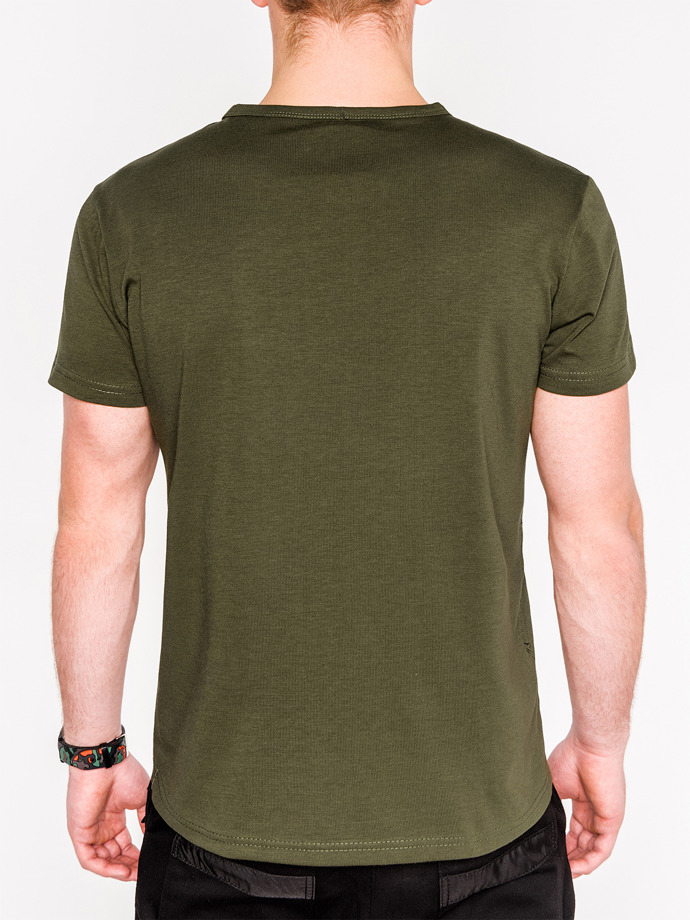 Men's printed t-shirt S1058 - khaki