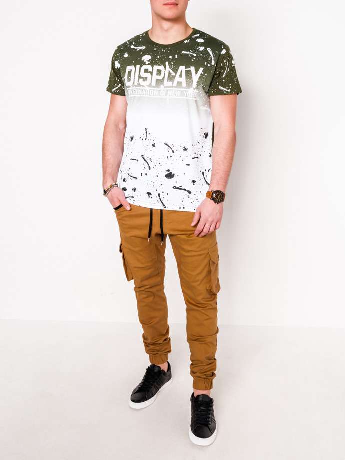 Men's printed t-shirt S1068 - khaki