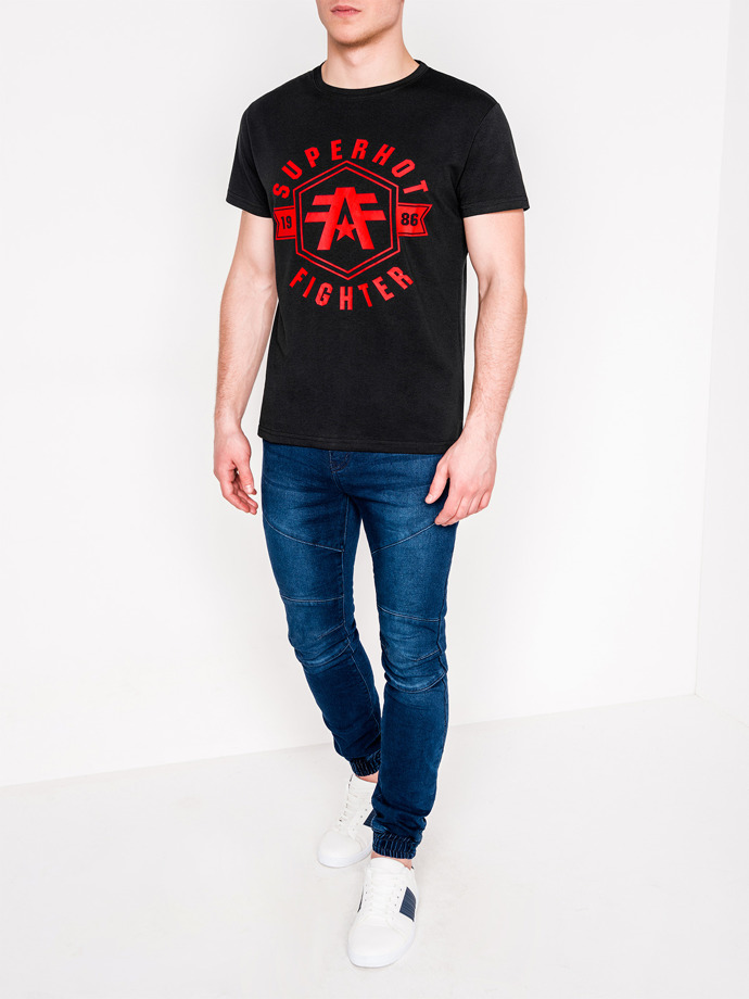 Men's printed t-shirt S1073 - black