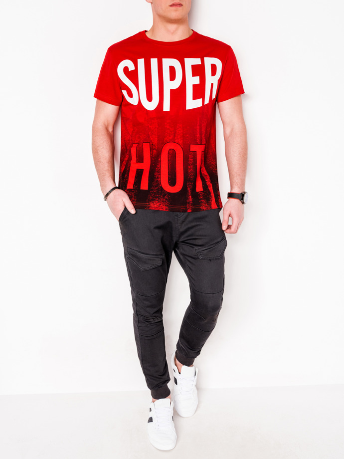 Men's printed t-shirt S1082 - red
