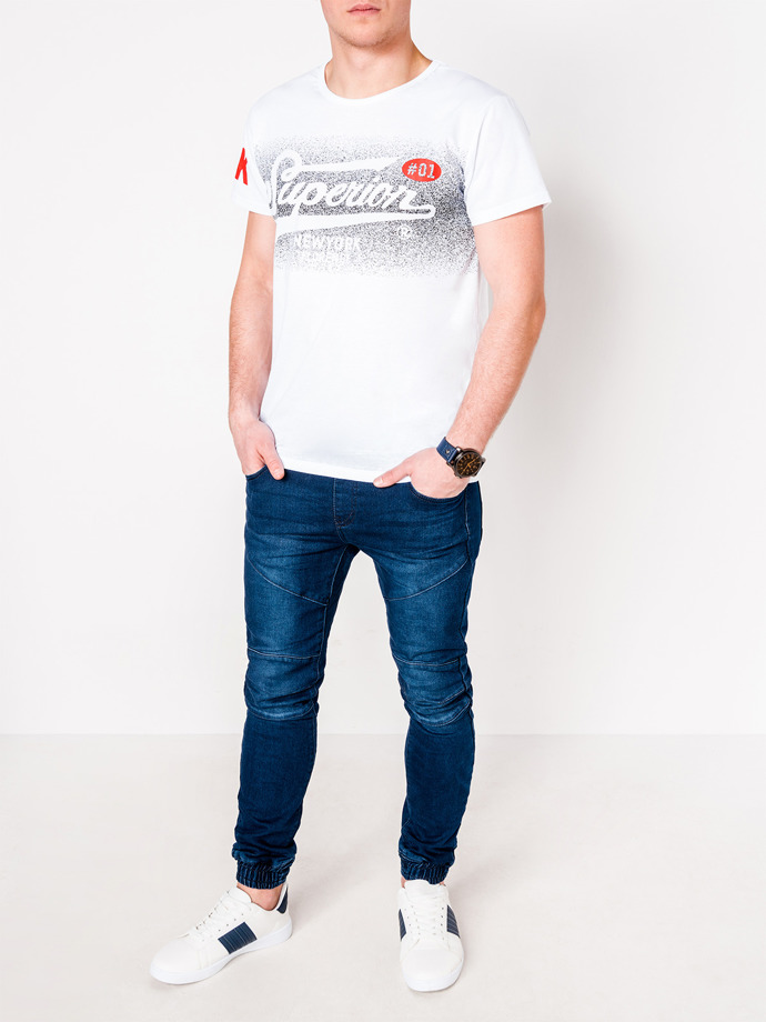 Men's printed t-shirt S1089 - white