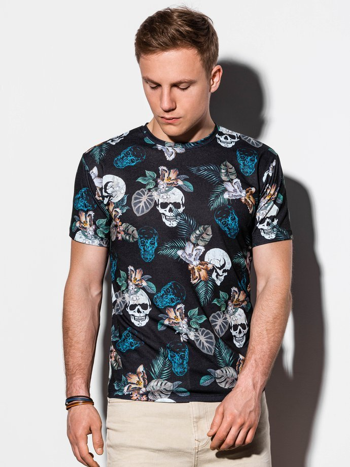 Men's printed t-shirt S1222 - black