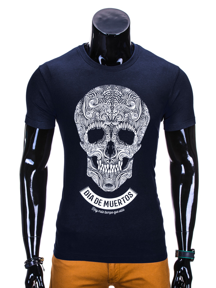 Men's printed t-shirt S611 - navy