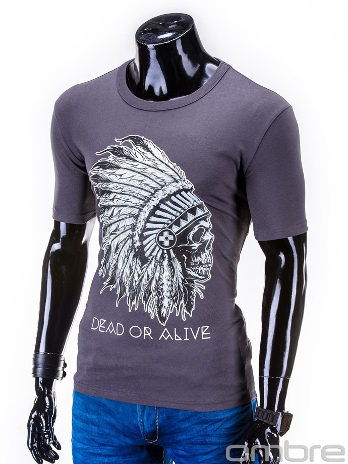Men's printed t-shirt S613 - dark grey