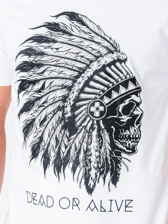 Men's printed t-shirt S613 - white
