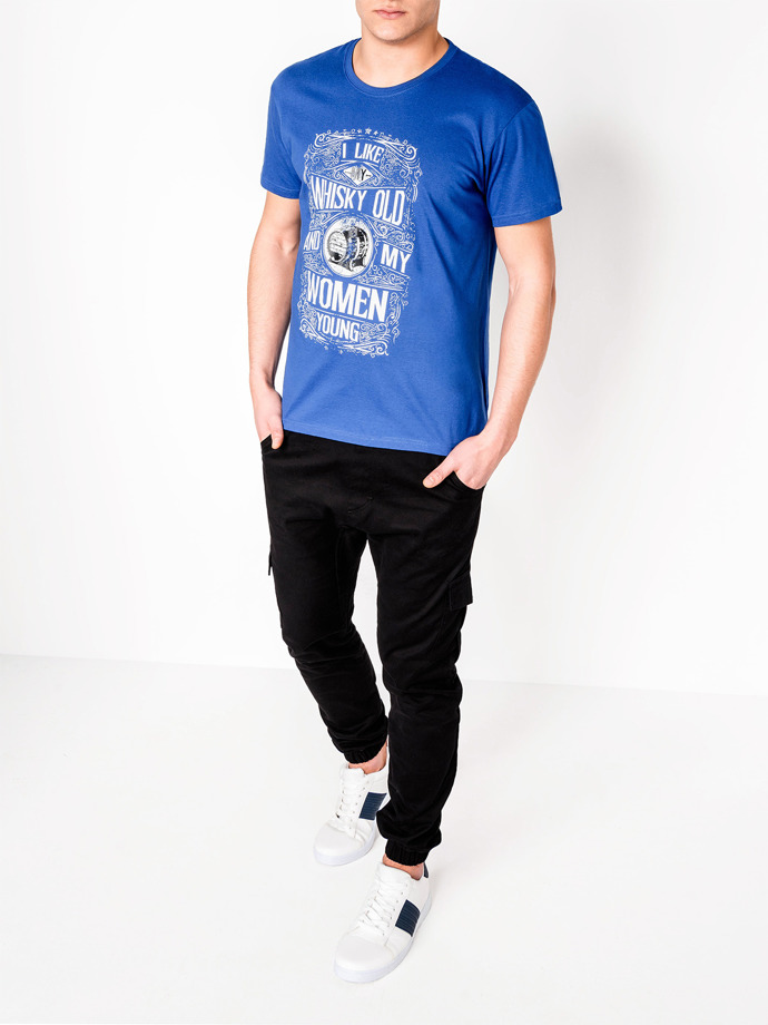 Men's printed t-shirt S839 - blue
